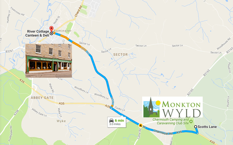River Cottage Canteen Just 3 Miles away