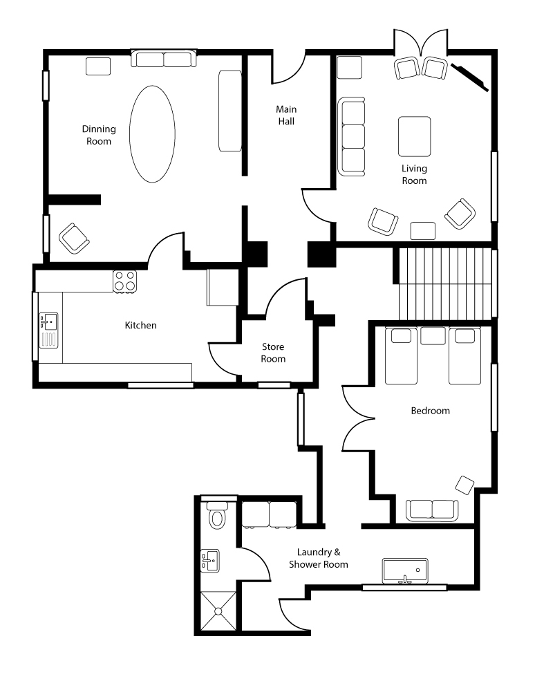 Monkton Wyld Holiday Farmhouse Floor Plan Ground Floor
