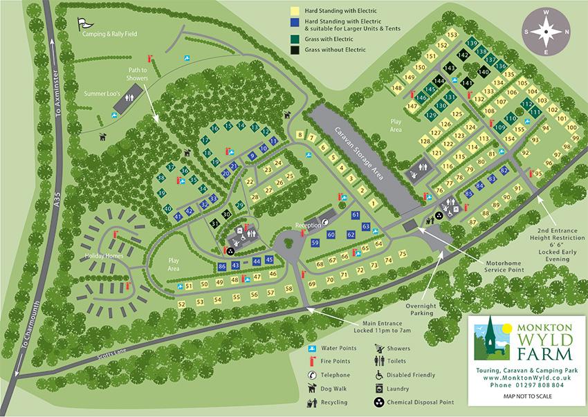Best Camping Caravanning Motorhome Charmouth Lyme Regis Dorset Site Plan