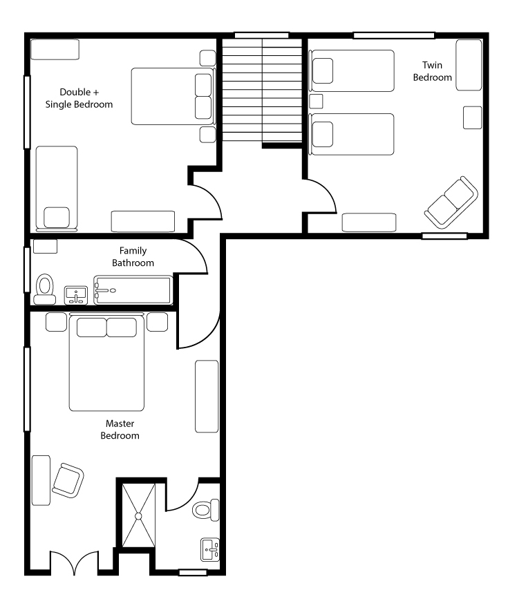 Monkton Wyld Holiday Farmhouse Floor Plan Up Stairs